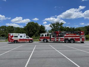 a fire truck parked in a parking lot